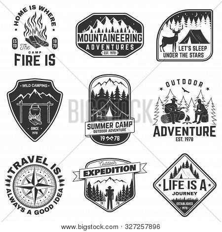 Set Of Outdoor Adventure Quotes Symbol. Vector. Concept For Shirt Or Logo, Print, Stamp. Vintage Des