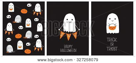 Cute Hand Drawn Halloween Cards And Pattern. Little White Ghost On A Black Background. Happy Hallowe