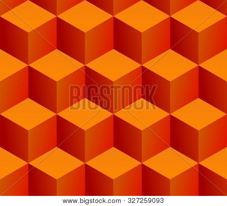 Seamless Pattern Of Stacked Isometric Orange Cubes