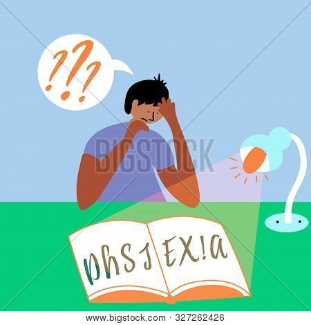 The Boy Is Trying To Read A Book. Invisible Disorder Dyslexia. Dyslexia In The Boy