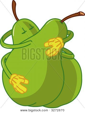 Pear Cartoons Embracing And Kissing