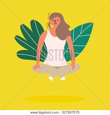 Girl Meditating In Lotus Position And Soars Above The Ground. Levitating