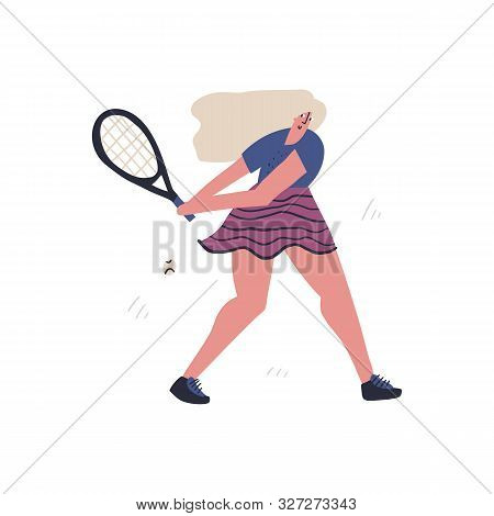 Professional Tennis Player Flat Hand Drawn Illustration. Sportsman Hitting Forehand Volley Cartoon C