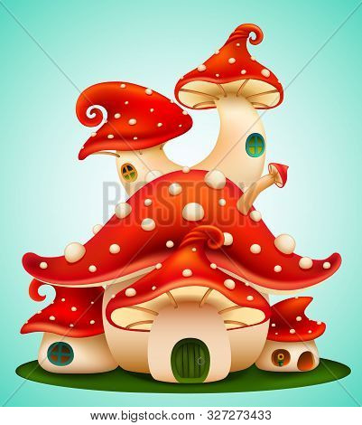Magic Mushroom Group. Fairy Houses Red Mushrooms With Windows And Doors On Blue Background