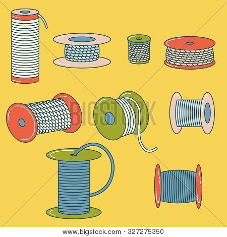 Set of wire spools, thread, alloy, rope reel. Coil poster