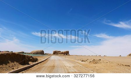 Landscape View Of Water Yadan Geopark In Dunhuang Gansu China