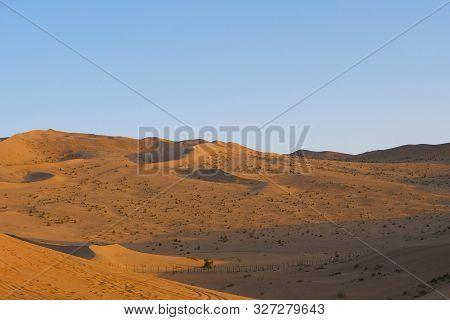 Beautiful Dusk Landscape View Of Desert In Dunhuang Gansu China.
