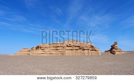 Nature Landscape View Of Yardang Landform Under Sunny Blue Sky In Dunhuang Unesco Global Geopark, Ga