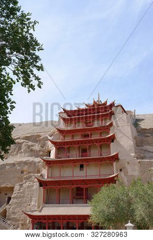 Ancient Buddhism Architecture Dunhuang Mogao Grottoes In Gansu China