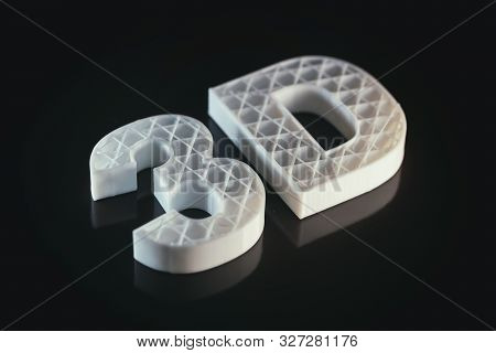 3D Printers. 3D Text White Color Abs Against Black Background,