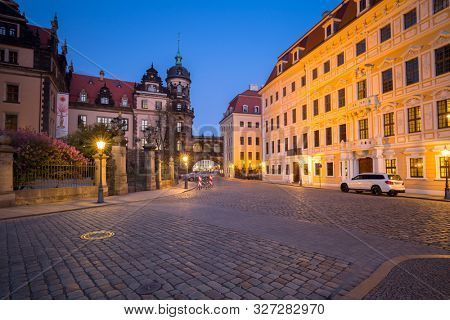 Dresden, Germany - April 19, 2019: Beautiful architecture of the old town in Dresden at dusk, Saxony. Germany