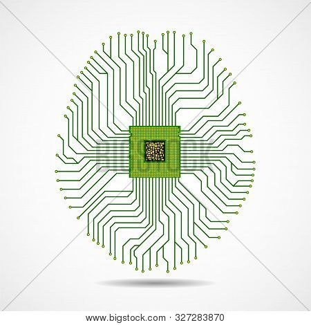 Abstract Technological Brain, Artificial Intelligence With Cpu, Circuit Board