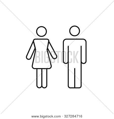 Wc Sign Restroom. Toilet Male And Female Pictogram. Wc Line Icon