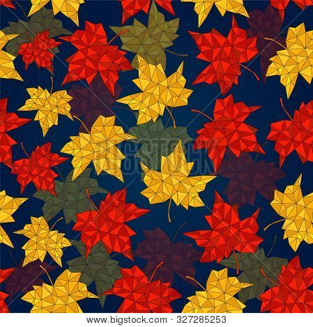 Autumn Seamless Background Of Maple Leaves, Pattern