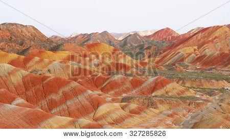 Beautiful Nature Landscape View Of Zhangyei Danxia Landform In Gansu China.