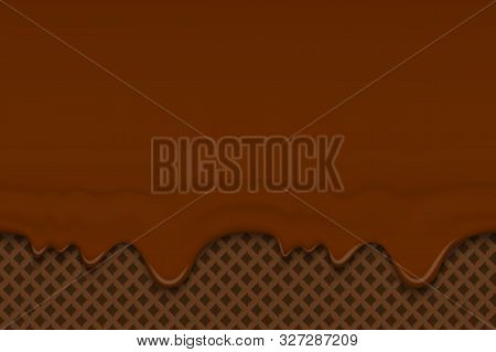 Dripping Chocolate Ice Cream Or Icing Flowing Over Brown Waffle Texture Background. Cafe Menu, Food