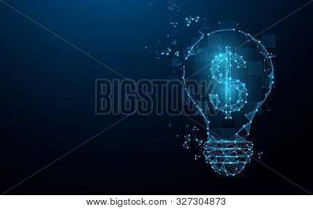 Idea Bulb With Dollar Sign From Lines, Triangles And Particle Style Design. Digital Marketing Concep