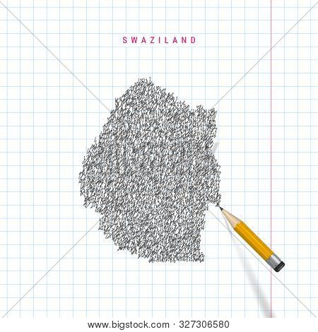 Swaziland Sketch Scribble Map Drawn On Checkered School Notebook Paper Background. Hand Drawn Vector