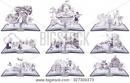 Set Of Open Books Fairy Tales Illustration. Cinderella, Inch, Snow Queen, Bremen Town Musicians