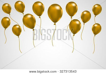 Celebration Balloons, Festival Backgrounds With Golden Balloons. Greeting Banner Or Poster With A Re
