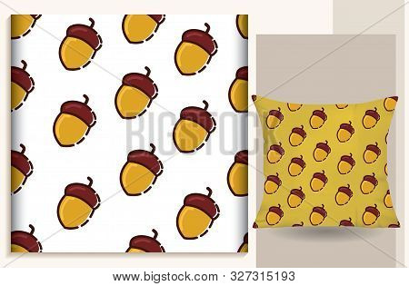 Seamless Pattern Oak Seed Vector Illustration, Suitable For Use For Cushions, T-shirts, Hoods, Scraf