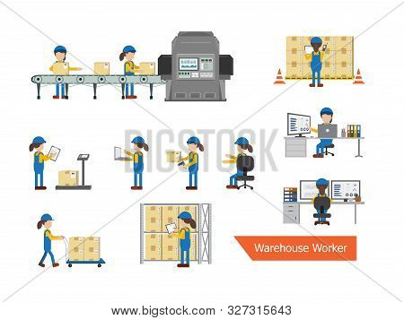 Set Of Female Warehouse Worker Character Vector Illustration
