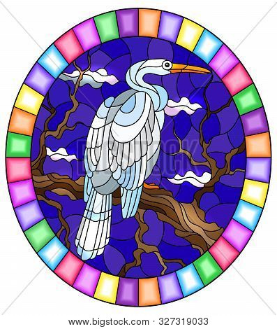 Illustration In Stained Glass Style With A White  Heron Bird Sitting On A Tree On A Background Of Sw