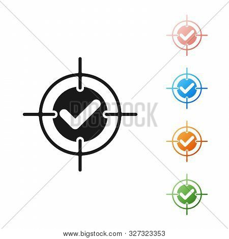 Black Target And Check Mark Icon Isolated On White Background. Dart Board Sign. Archery Board Icon.