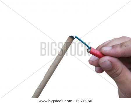 Isolated Hand Holding Fire Cracker