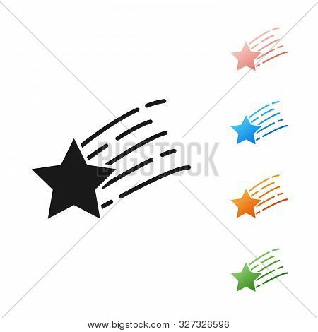Black Falling Star Icon Isolated On White Background. Shooting Star With Star Trail. Meteoroid, Mete