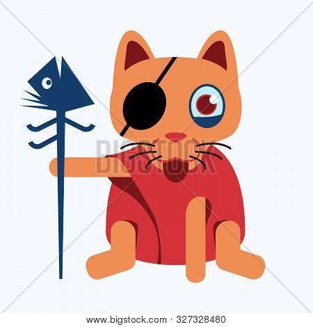 Witch Cat Wear Eyepatch And Red Dressed Holding Fishbone Satff. Cute Character Design Of Animal For