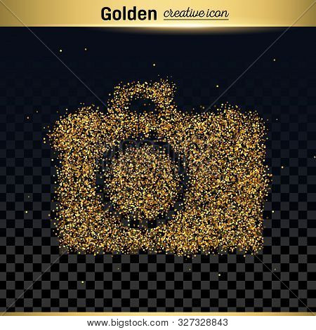 Gold Glitter Vector Icon Of Photo Camera Isolated On Background. Art Creative Concept Illustration F