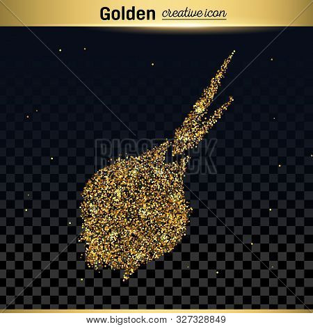 Gold Glitter Vector Icon Of Onion Isolated On Background. Art Creative Concept Illustration For Web,