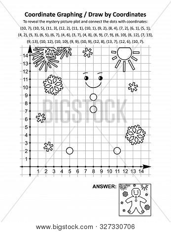 Coordinate Graphing, Or Draw By Coordinates, Math Worksheet With Christmas Gingerbread Man Cookie: T