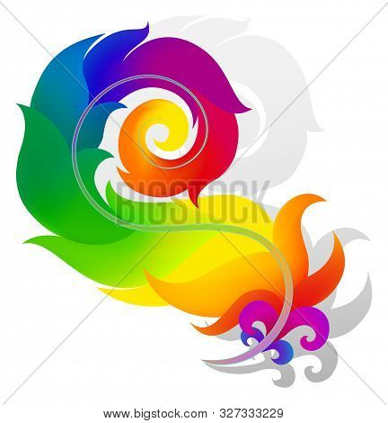 Rainbow Feather With Gray Shadow On White Background