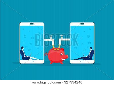 Two Business Sitting In Laptop Mobile With Made Coins Working Passive Income Concept Vector.
