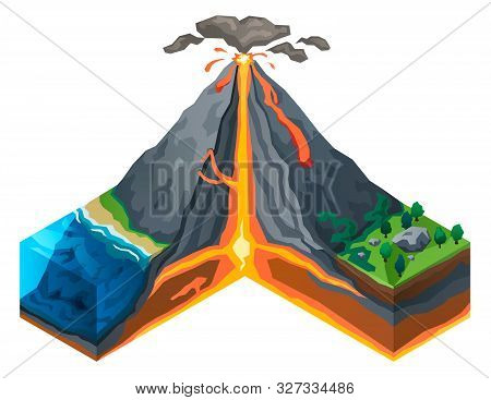 Volcano Structure Concept Banner. Isometric Illustration Of Volcano Structure Vector Concept Banner