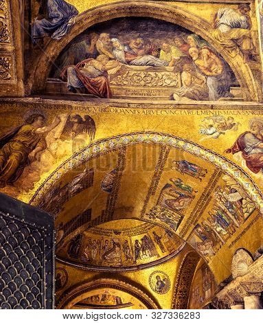 Venice, Italy - May 21, 2017: Entrance To St Mark`s Basilica Or San Marco. It Is Top Landmark Of Ven