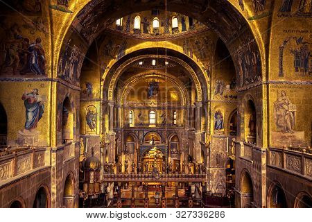 Venice, Italy - May 21, 2017: Interior Of Ancient St Mark`s Basilica Or San Marco. It Is A Top Landm