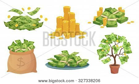 Cartoon Cash. Green Dollar Banknotes Pile, Rich Gold Coins And Pay. Cash Bag, Tray With Stacks Of Bi