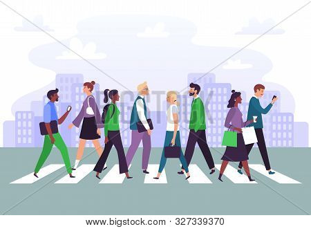 Business People Cross Road. Businessman Crosses Zebra Crossing, Walk To Office And City Roads Crossw