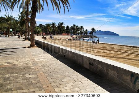 Mazarron, Murcia, Spain- October 3, 2019: Beautiful Beach View From The Promenade In A Sunny And Cle