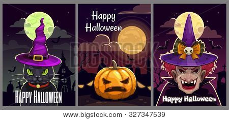 Set Of Three Scary Halloween Posters. Helloween Greeting Cards Set.