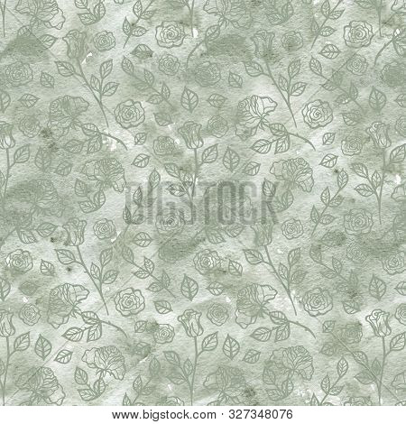 Hand Drawn Roses, Mimicking Folk Embroidery Stitches, On Dark Blue Background Floral Seamless Patter
