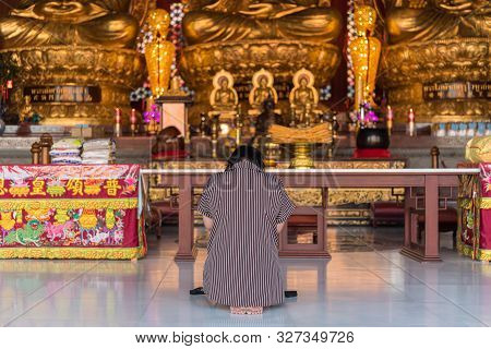 Nonthaburi , Thailand - March 11, 2019 : Wat Boromracha Kanchanapisek Anusorn (leng Noei Yi 2) Is A