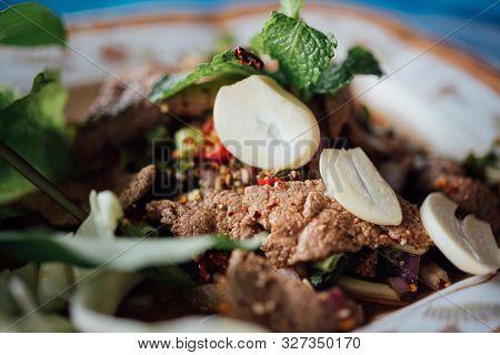Spicy Pork Liver Salad (tub Wan) Is Thai Esan Food