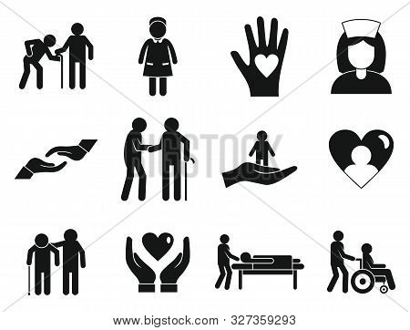Caregiver Icons Set. Simple Set Of Caregiver Vector Icons For Web Design On White Background