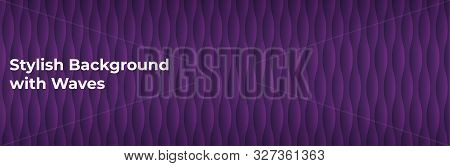 Trendy Blue Background With Vertical Waves. Stylish Black Template For Advertising, Social Media, Po