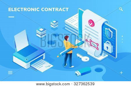 Screen For Electronic Contract Or Signature Smartphone Application. Man With Pen Signing E-contract