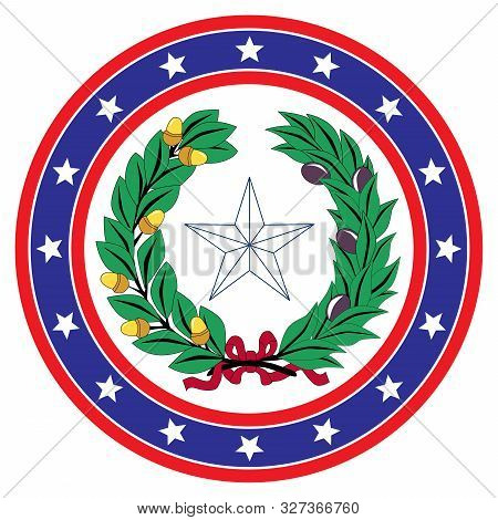 A Red White And Blue Star Spangled Circle With Texan Icon Background Over A White Copy Space Backgro